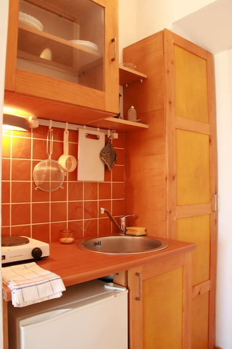 Kitchenette can be used for preparing breakfast or simple meals.