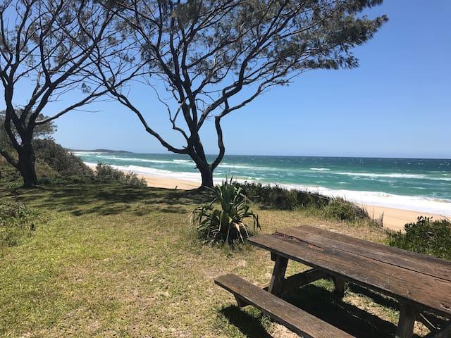 The beachfront table.