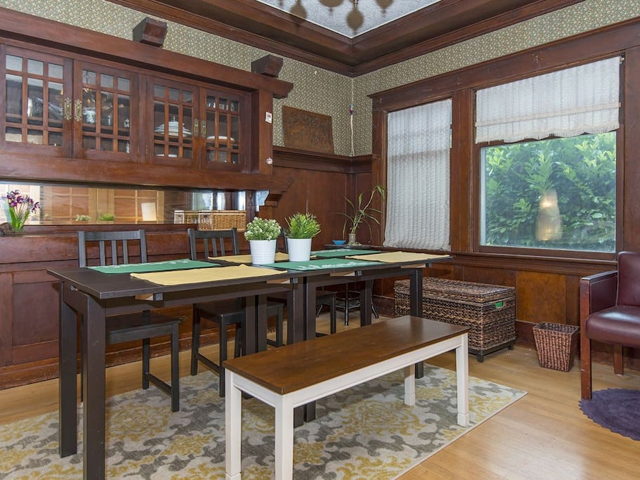 Dining Room with antique built-in cabinet