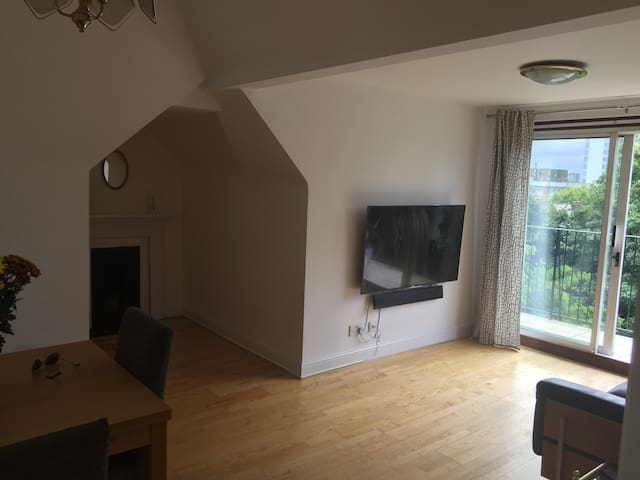 Living room with access to varandah and spectacular views, large flat screen Sony TV with awesome sound system, fastest wi-fi, classic Victorian fireplace (and of course central heating)!
