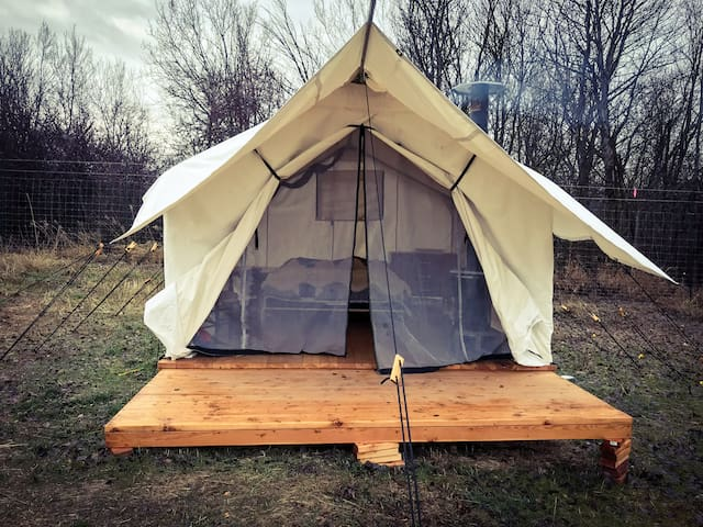 Private Cozy Wall Tent at County Rail Farm