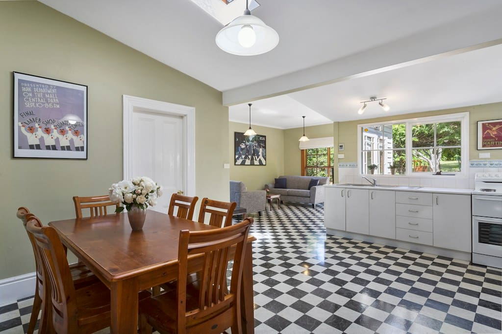 Open plan kitchen, dining and living