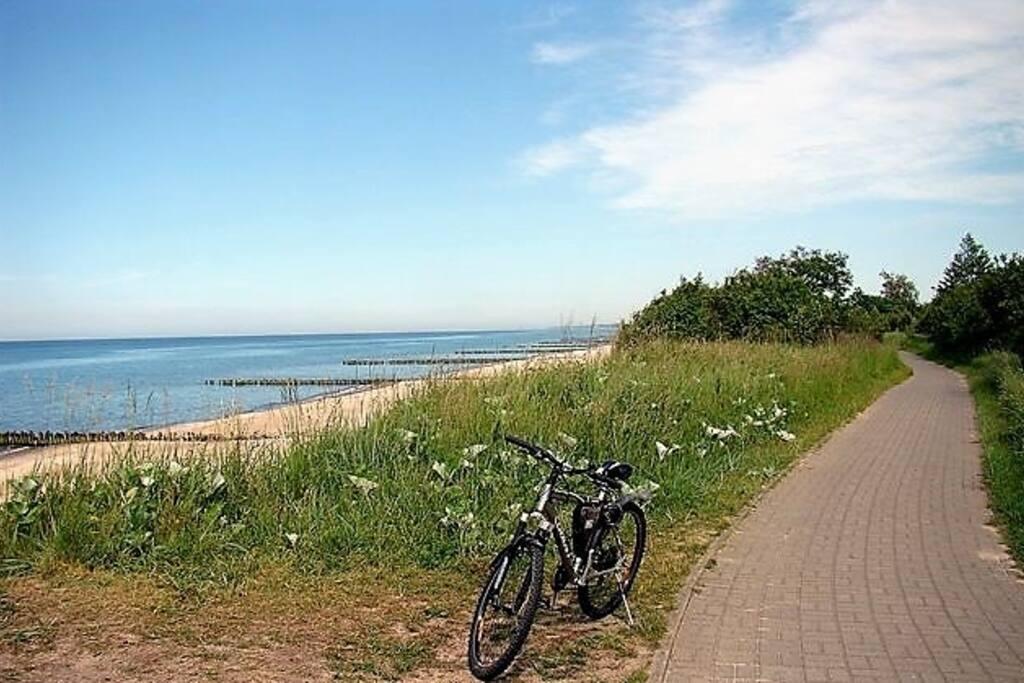 A lo largo de la costa hay un carril bici (40 km)  que llega al faro de Kolobrzeg, Dzwirzyno , Ustronie Morskie o Sianozety.