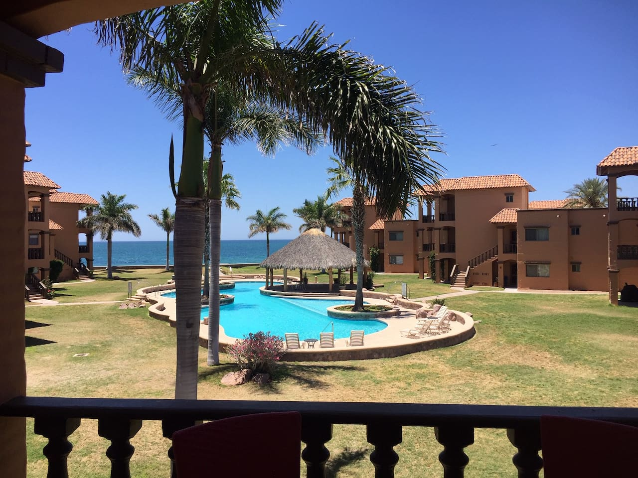 Lovely view of the pool and the Sea of Cortez from the balcony.  One of the best locations in Bahia Delfin