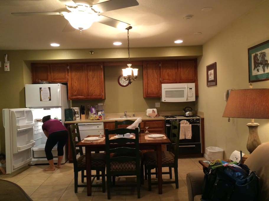 Kitchen area, fully furnished.
