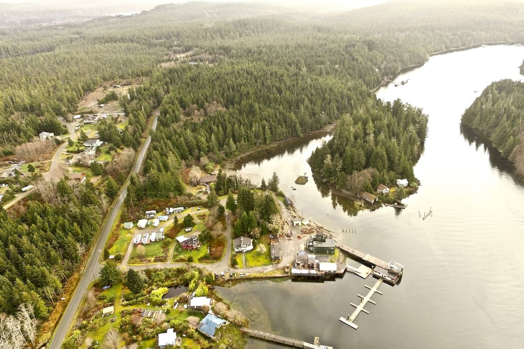 VIew from the sky with view of our moorage dock