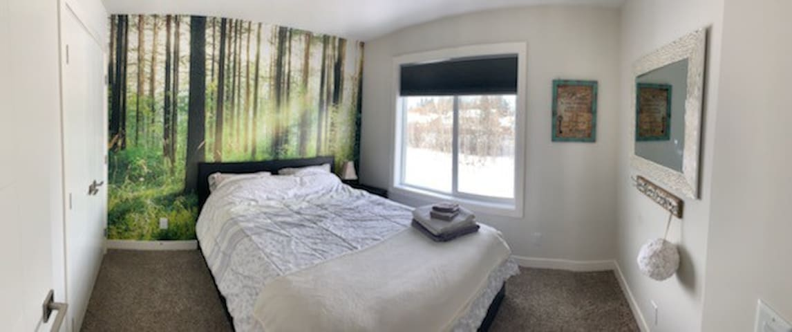Queen mattress; pretty room. Large closet. Nice view of trees out back window.