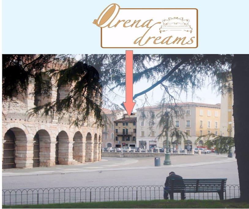 Piazza Bra - posizione Arena dreams studio
