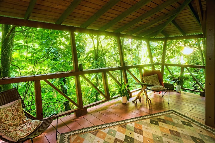 The living area in the Tree House, with a view into the valley with its little stream