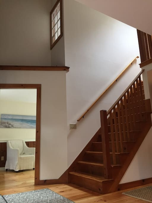 Bright and airy foyer.  Hardwood floors refinished throughout.
