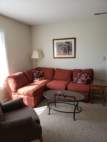 Ample seating in sunny living room.