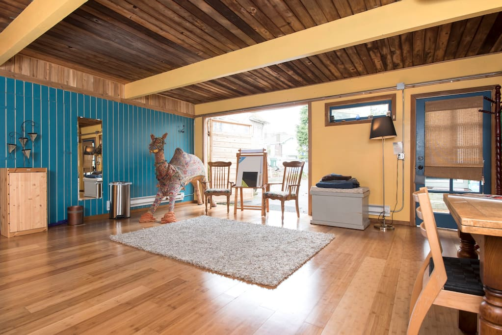 High beamed cedar ceiling adds to spacious feeling.