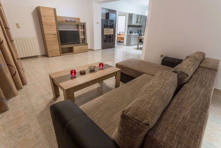spacious living room/kitchen area.