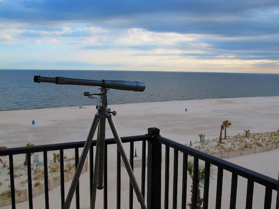 Private balcony view.  Powerful optics provided to view beach & bird action.