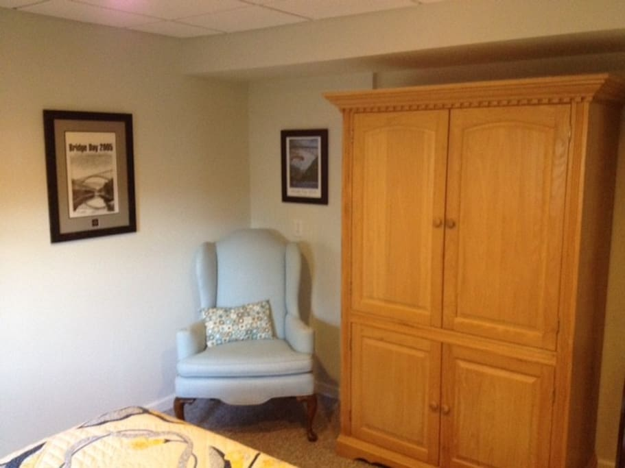 Armoire and full closet