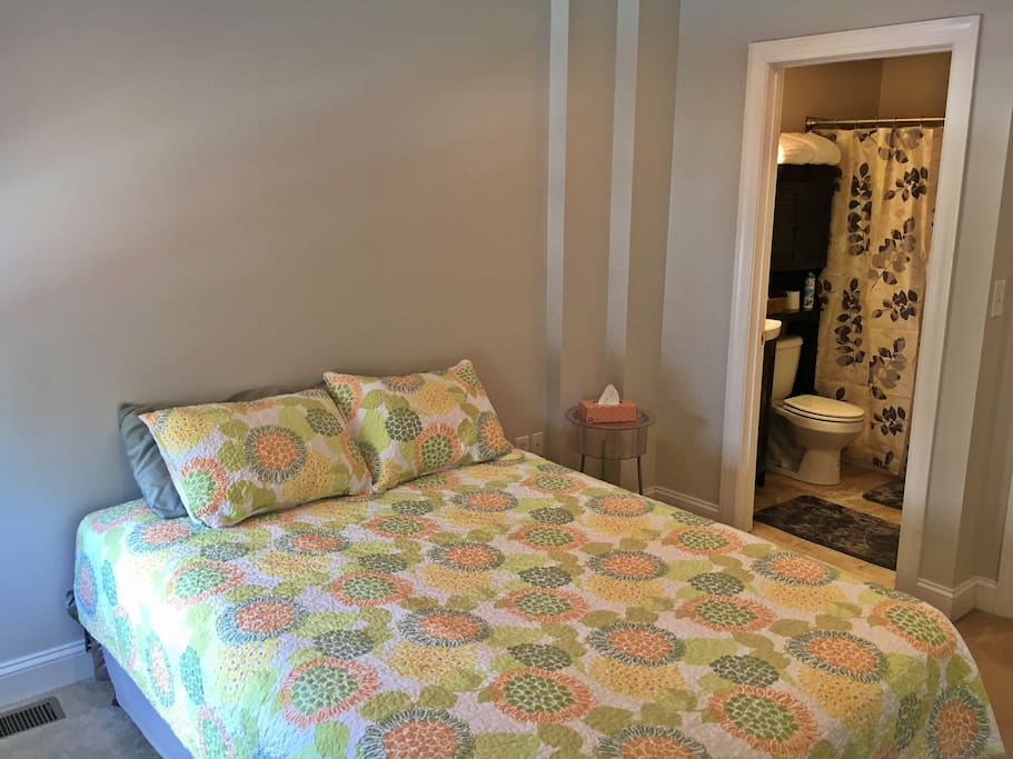 Your suite: second floor room with comfortable queen bed, private full bathroom, double door closet, two windows with blackout blinds