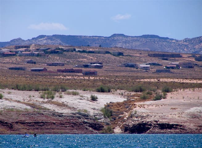 Looking back at Lake Powell View House from Wahweap Bay.