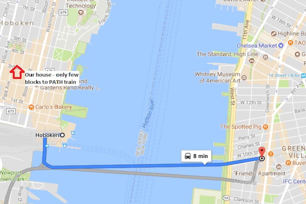 Few blocks to PATH train (will take you to Manhattan Greenwich Village in 8 min)