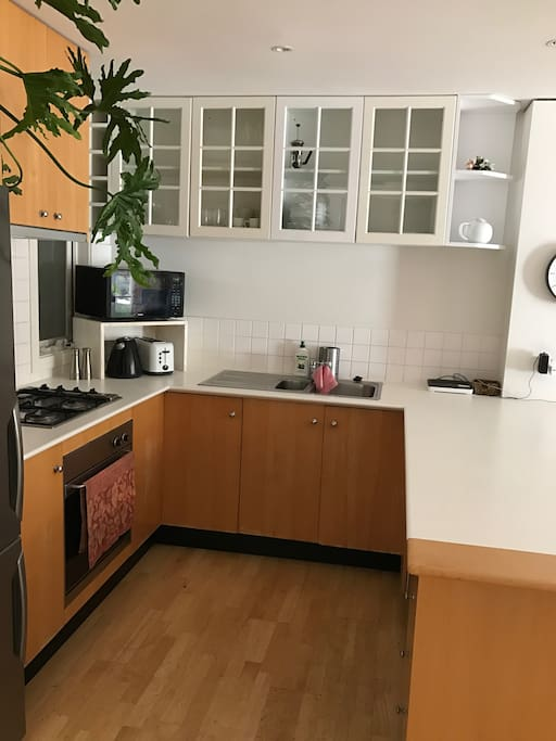 spacious kitchen with all your cooking needs (lots of spices)