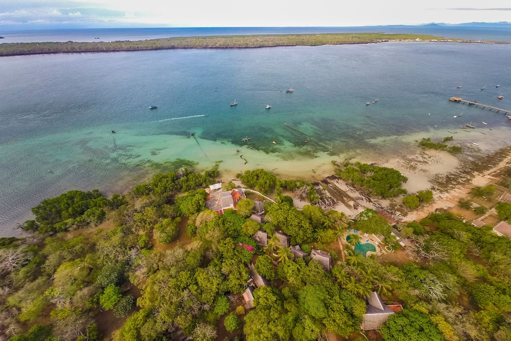 Coral House and shimoni Reef compound in shimoni Village looking across to Wasini Island