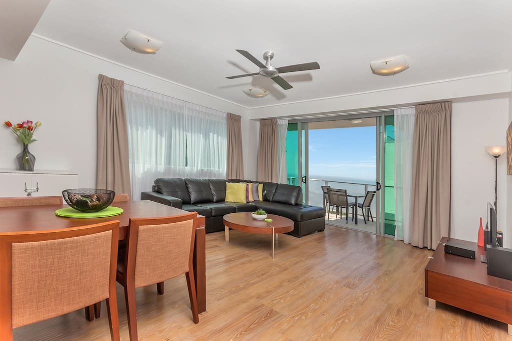 Your spacious living area with double sofa bed.