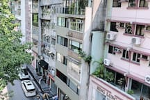 View on Hollywood road from the window