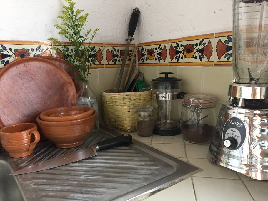 Kitchen is outfitted and stocked for delicious, healthy meals at home. Organic Coffee, panela (raw sugar) and Black Salt are provided for guests.