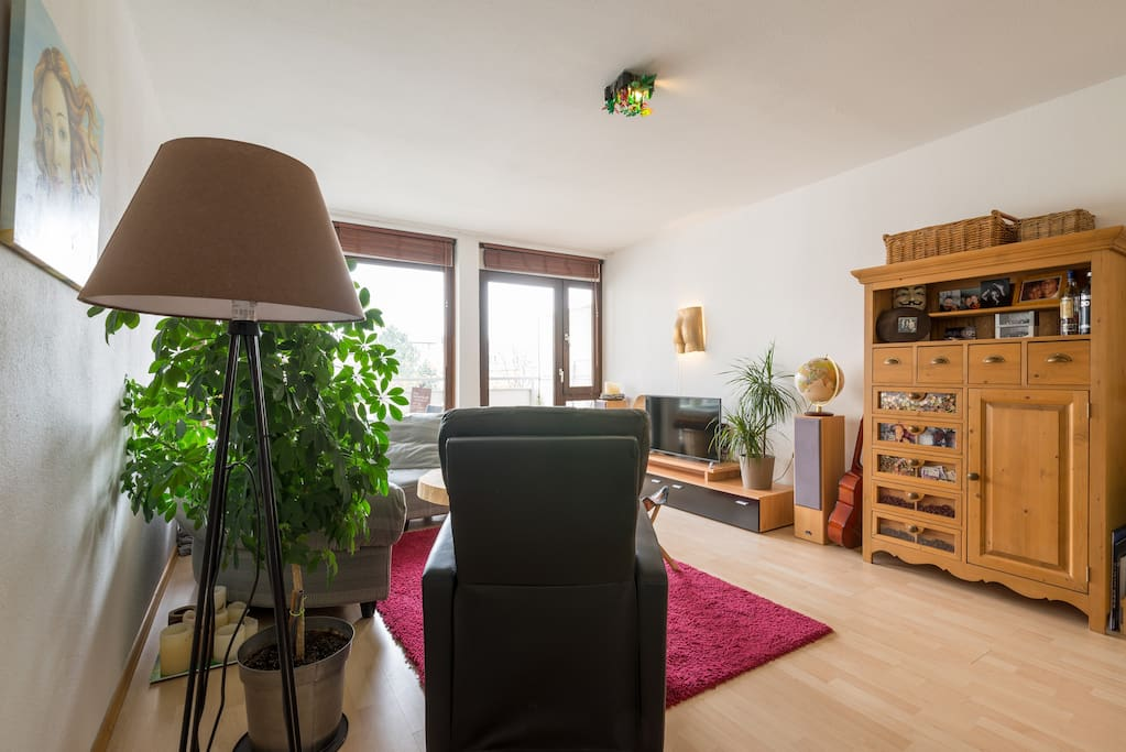 The living room has a wooden floor and some nice plants to create a warm atmosphere.