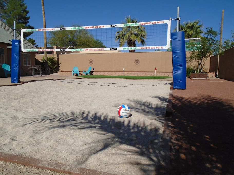 Sand Volleyball. Outdoor shower to rinse off