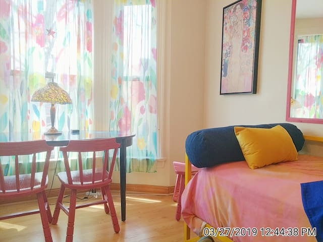 Magical PRIVATE 2nd Fl home 3 bdrms 3 Blk to train