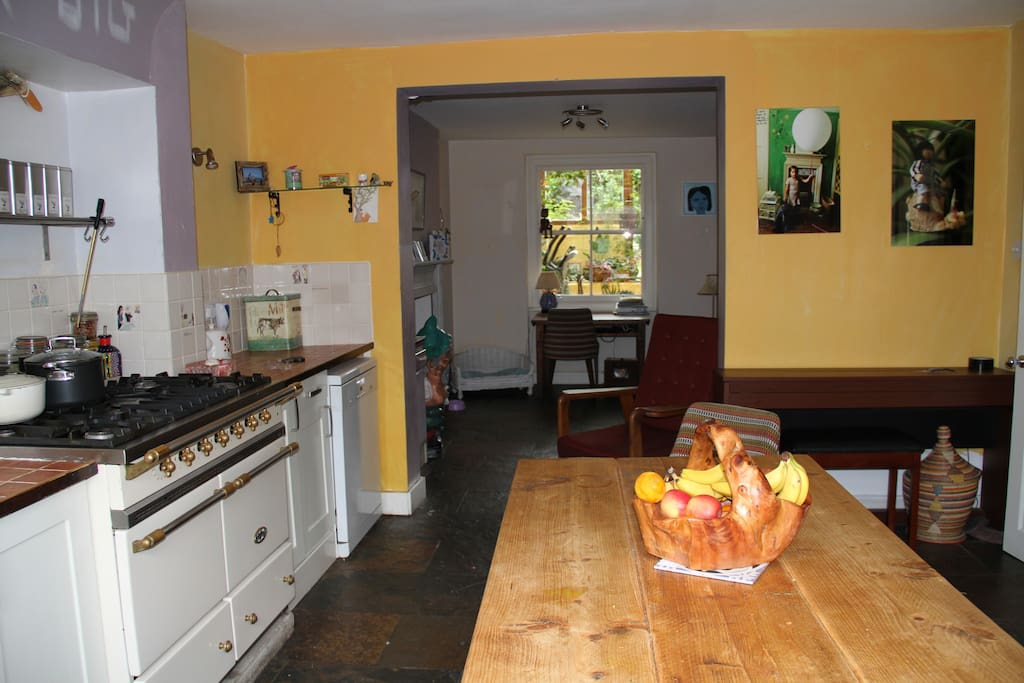 Spacious, well equipped kitchen in the basement.