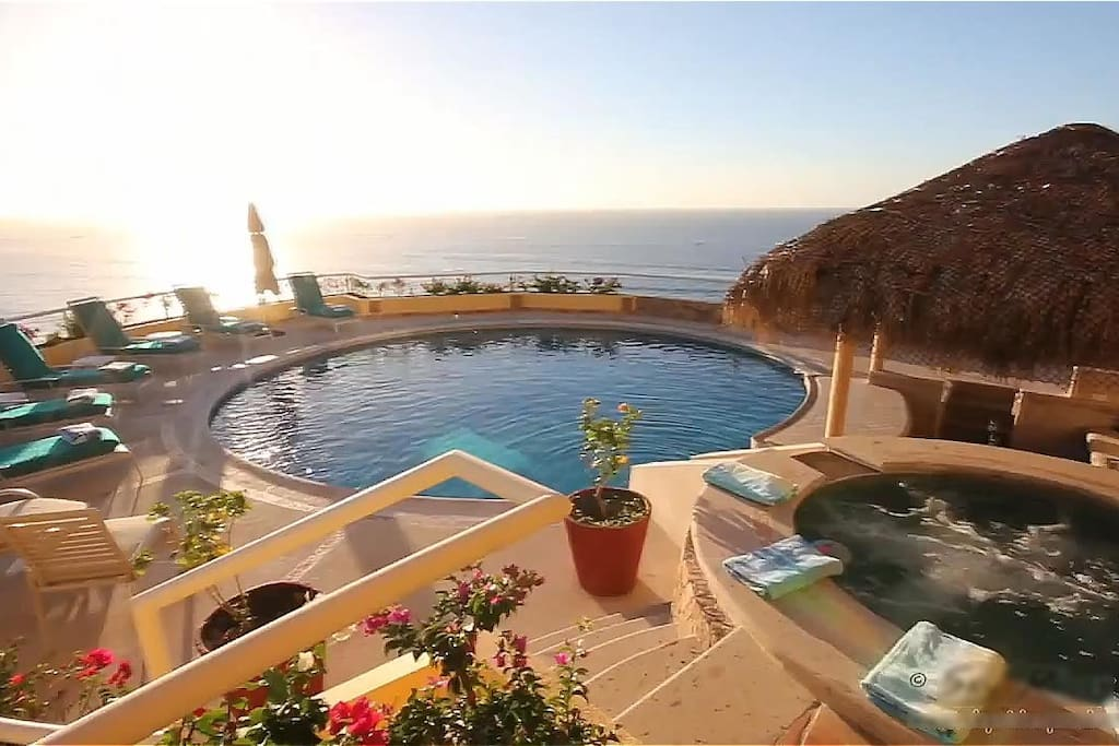 Large pool and deck with ample chaises to soak up the sun