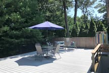 Your very own private deck. Grill included. Deck area gets full sunlight during the day.