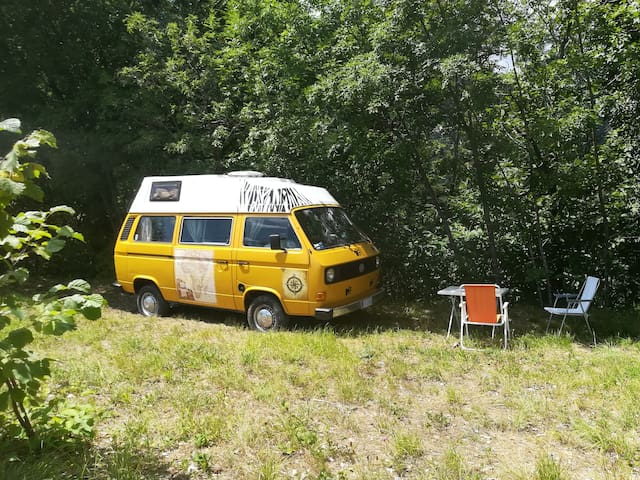 @gatetothewild : Sleep in an amazing Hippy van!
