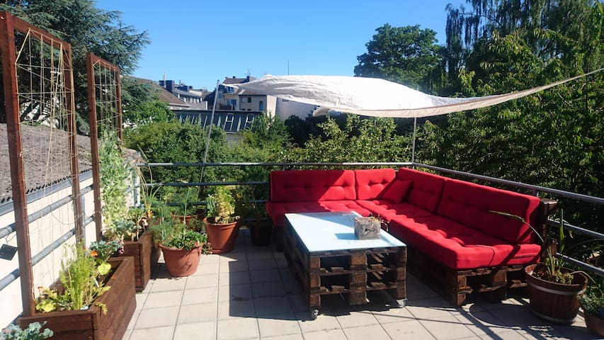 Room in a centrally located flat with large patio