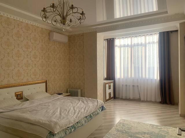 It is located center of Bishkek. Enjoy city life!