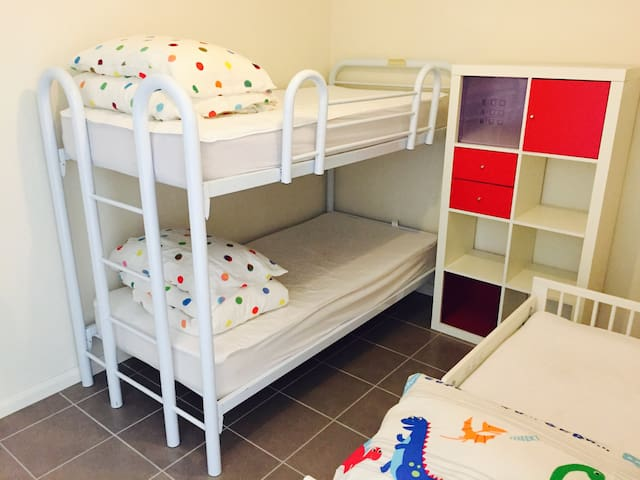 The Family unit - 2nd bedroom with bunks and junior bed.