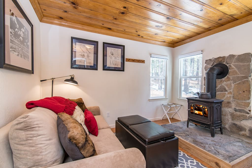 Stone and gas stove in the small and cozy living area