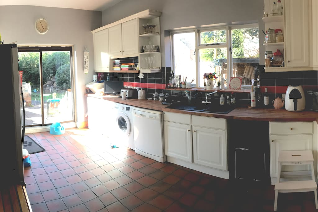 Large kitchen, opens on to garden