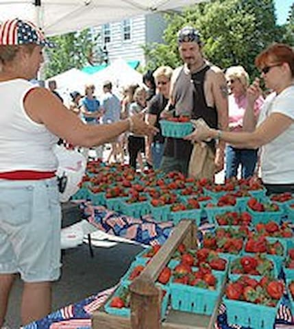Strawberry Festival 3rd weekend in June just steps out your door. Books up fast.