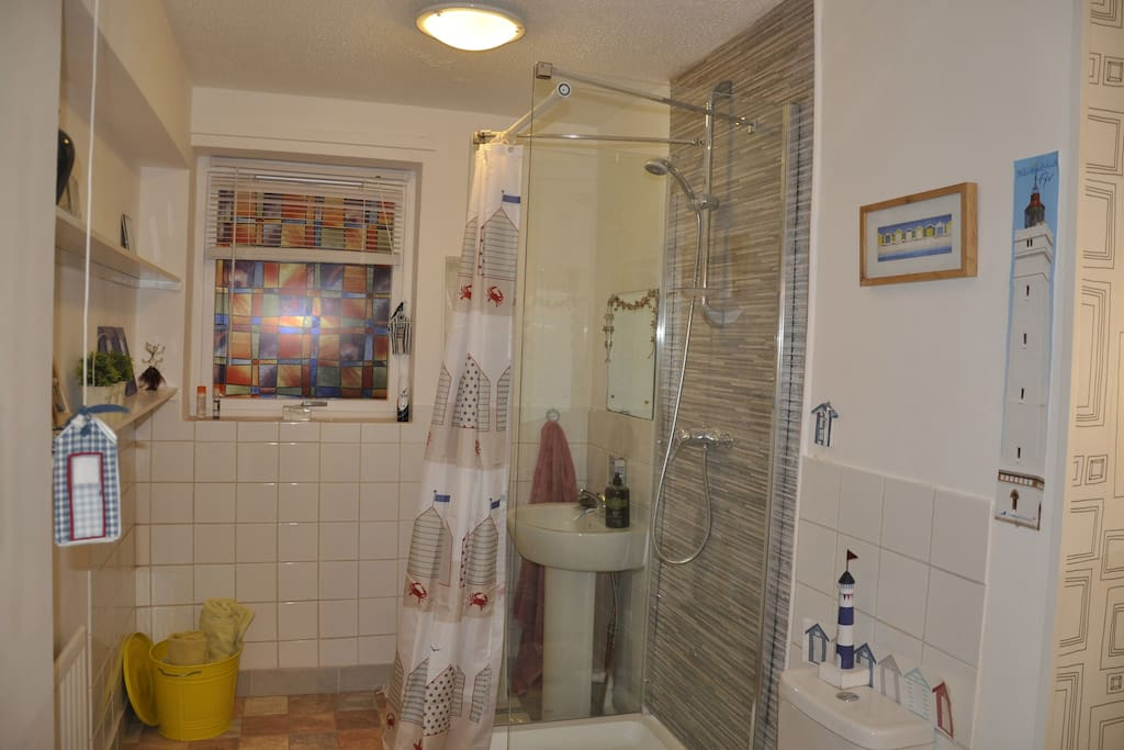 En-suite bathroom, shower, basin and WC, with storage area