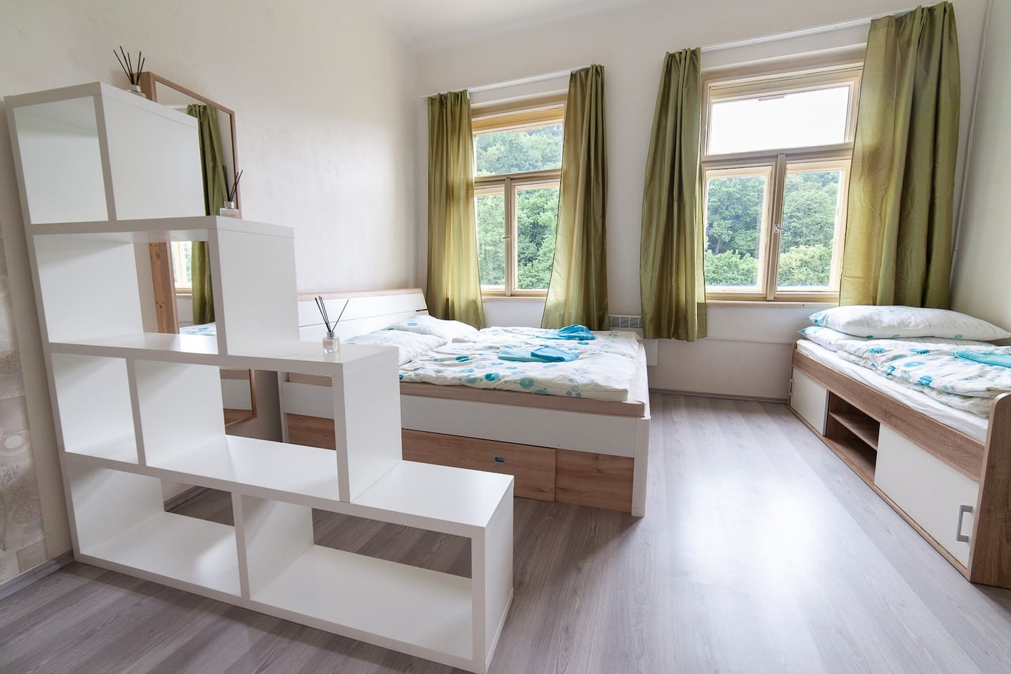 Brand new beds and ferniture, the view is just fenomenous to the Petrin Hill Park just steps away from Prague Castle. The location is perfect