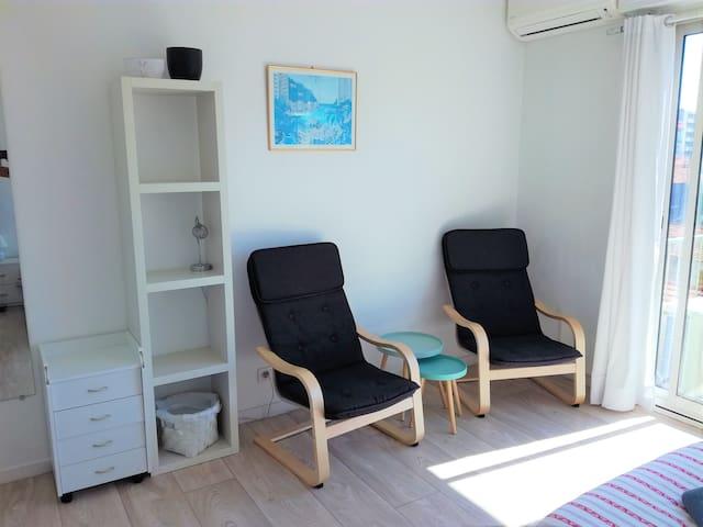 Relaxing area in bedroom