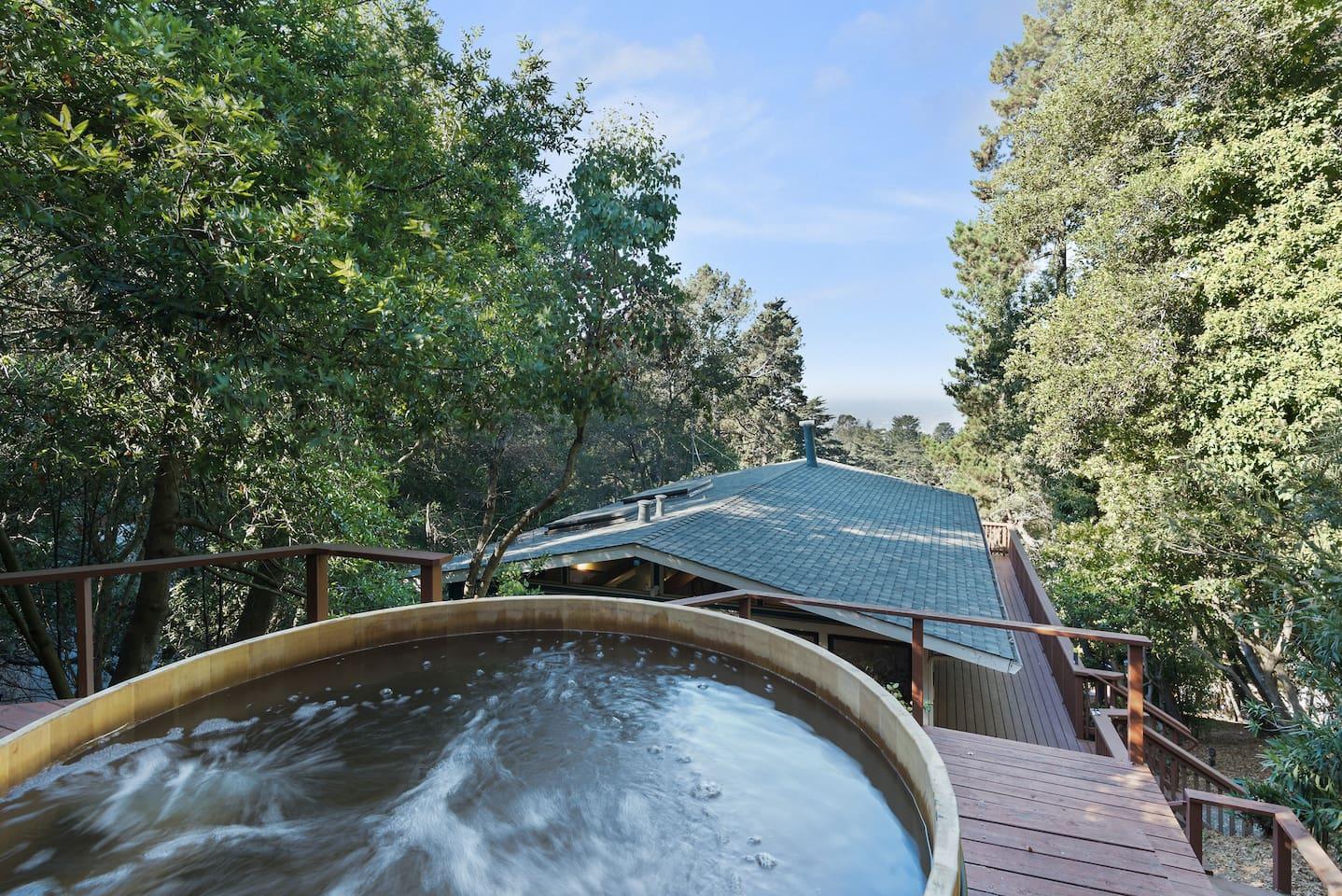 Enjoy views of San Fransisco Bay from custom cedar hot tub