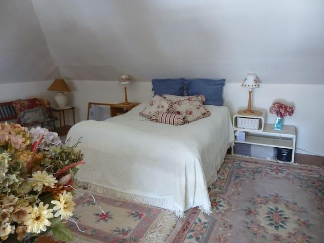 Queen size bed in the guestroom.