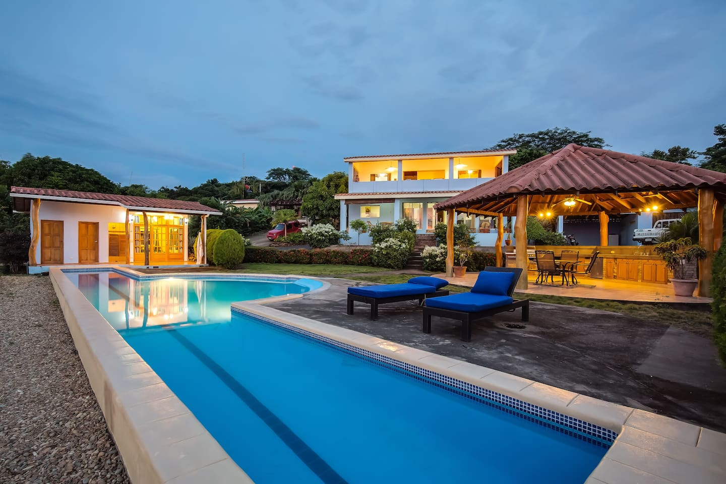 Our expansive property includes a two story main home, pool house and outdoor rancho with BBQ
