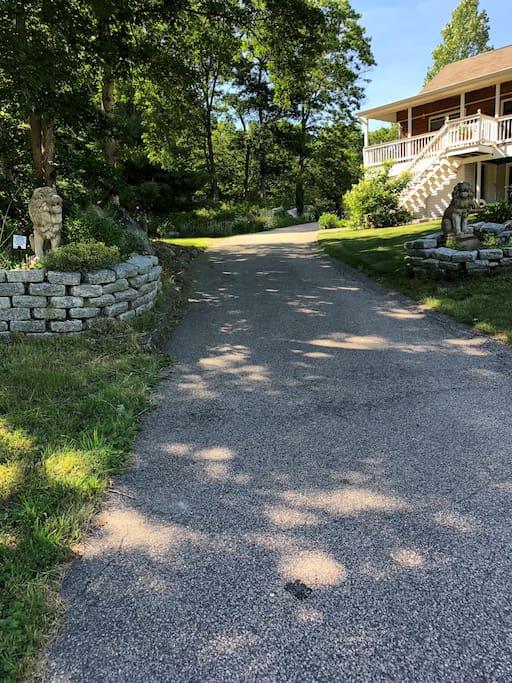Entering driveway