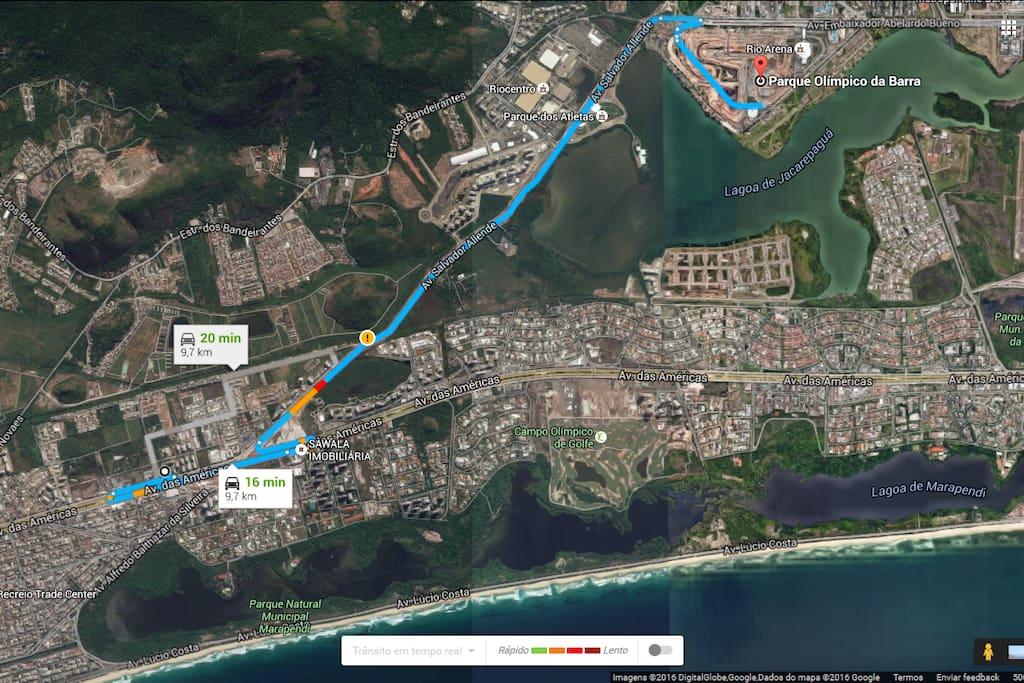Mapa para o Parque Olimpico. Tem transporte de BRT na frente do condominio que liga ao parque Olímpico