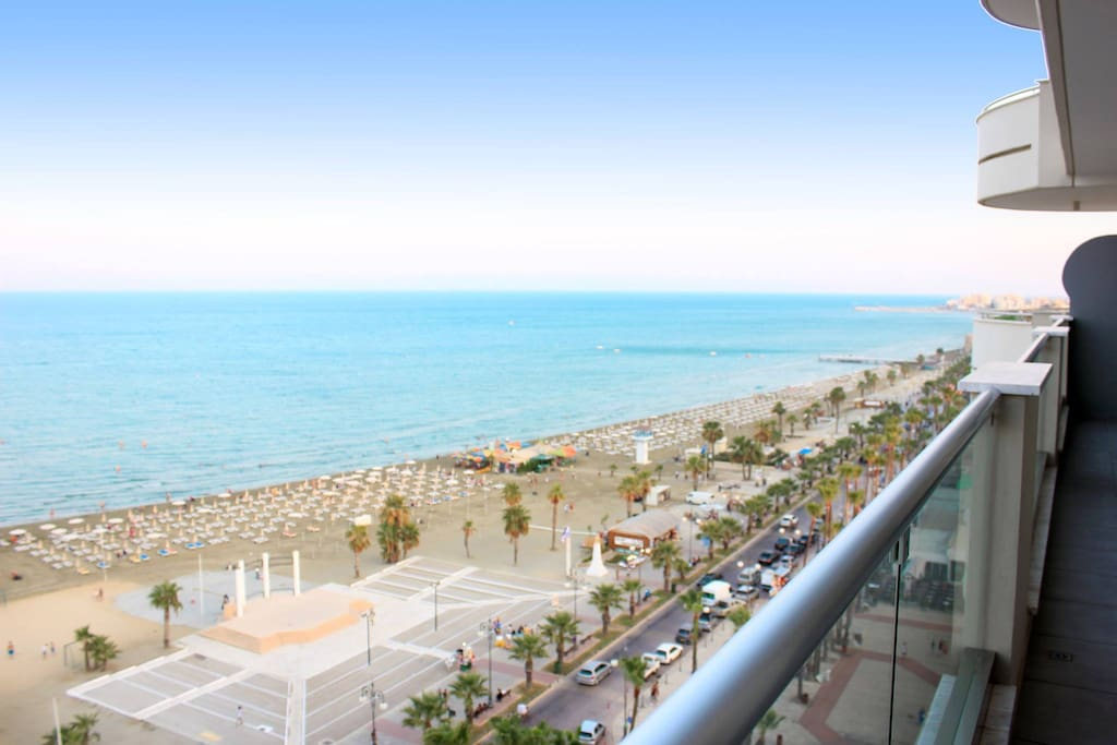 All day round lively Finikoudes beach view from the spacious balcony.
