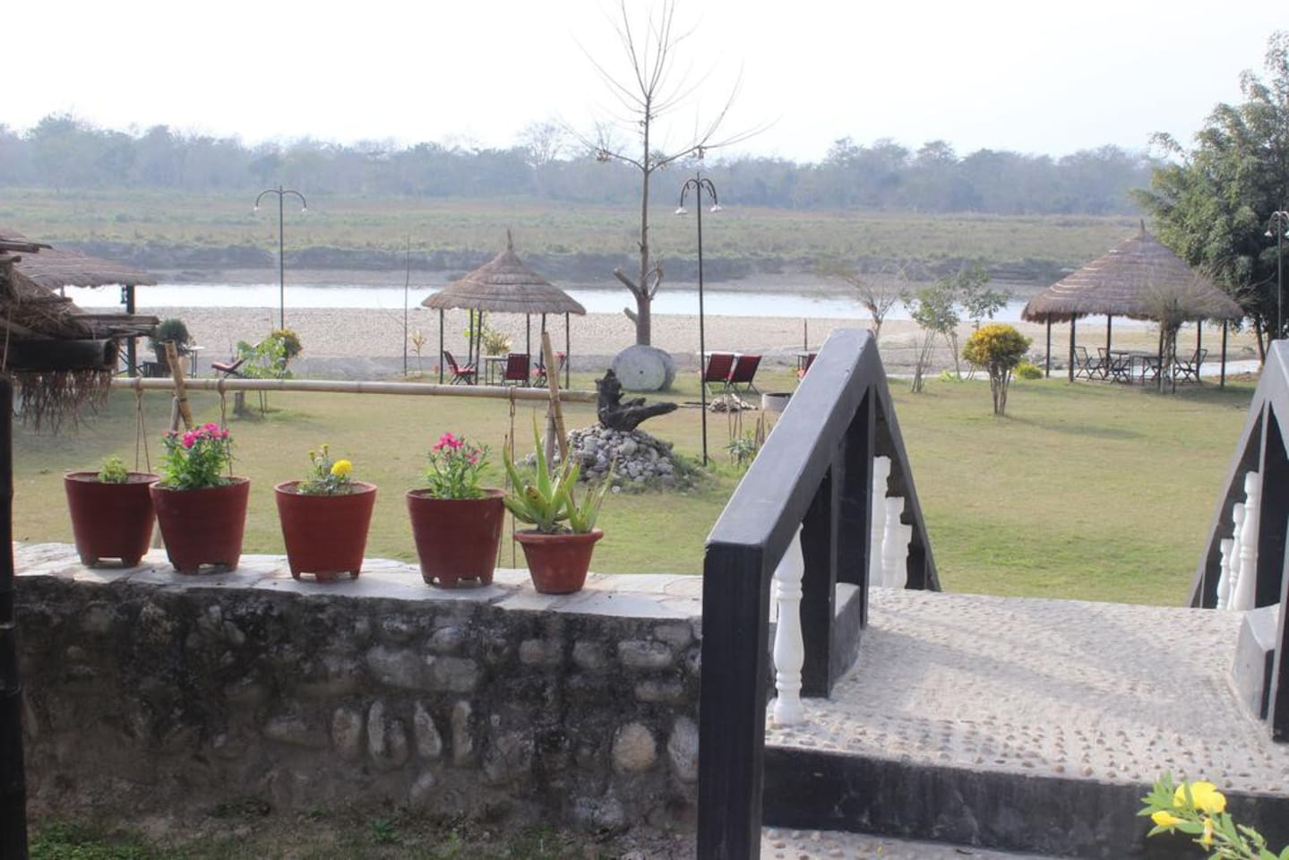 We can proudly say we are at the best location in Sauraha where you can see boundary of Chitwan National Park that is Rapti River and Gate way of First ever National Park in Nepal that is Chitwan National Park from our Property. We are true Riverside